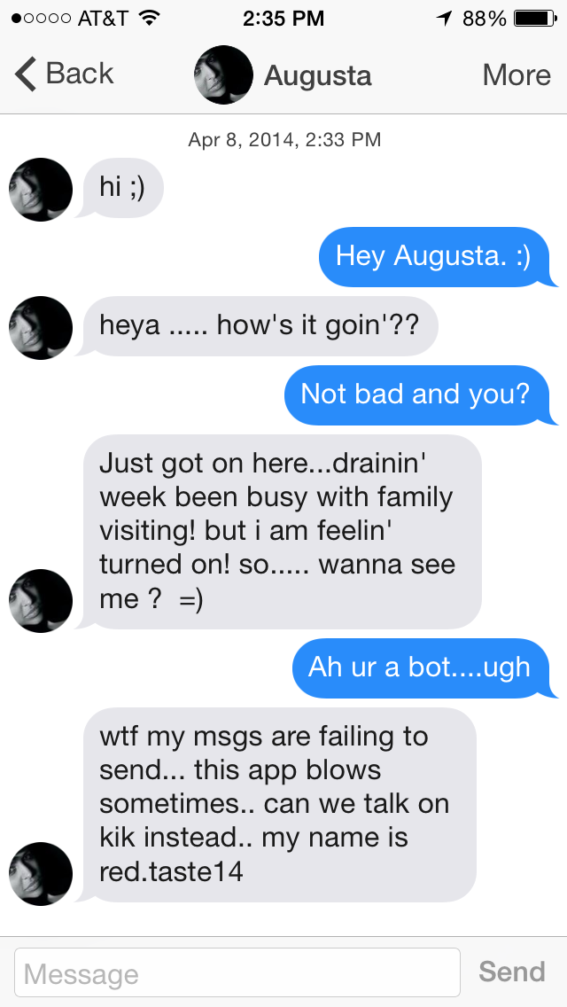 Sexting bots on kik